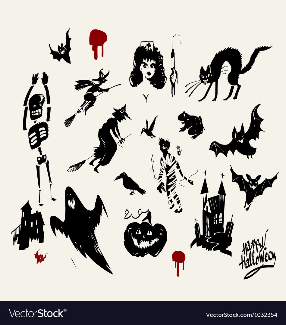 Halloween silhouette set Royalty Free Vector Image