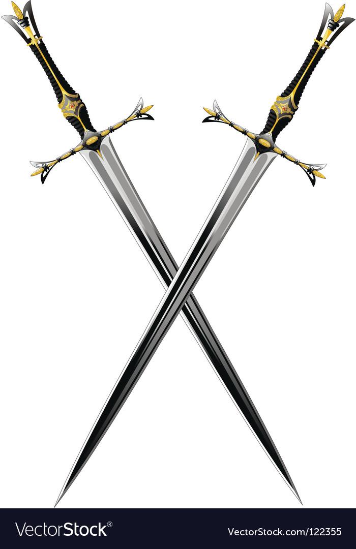 Two crossbones sword vector image