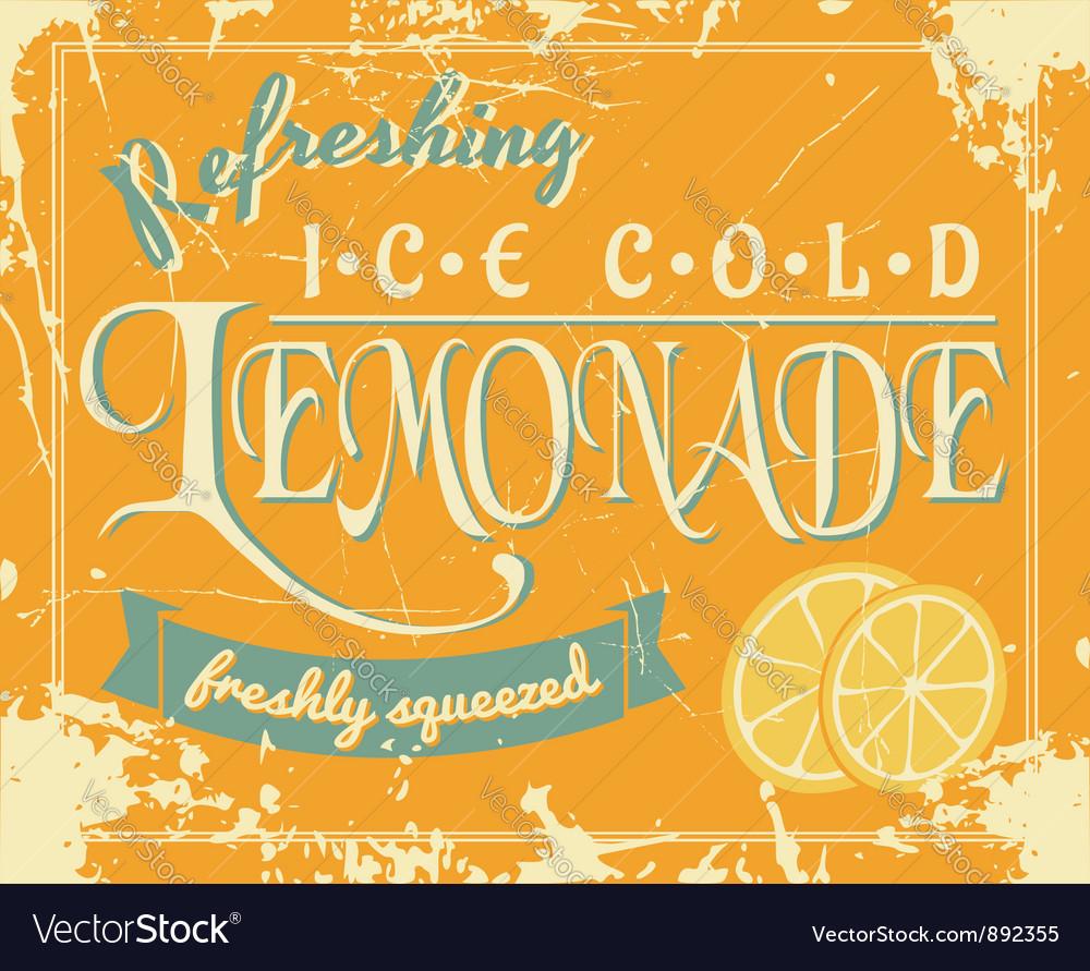 Lemonade vintage label vector image