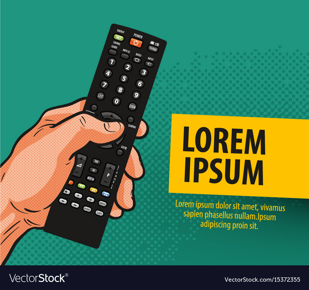 Tv television banner remote control comics vector image