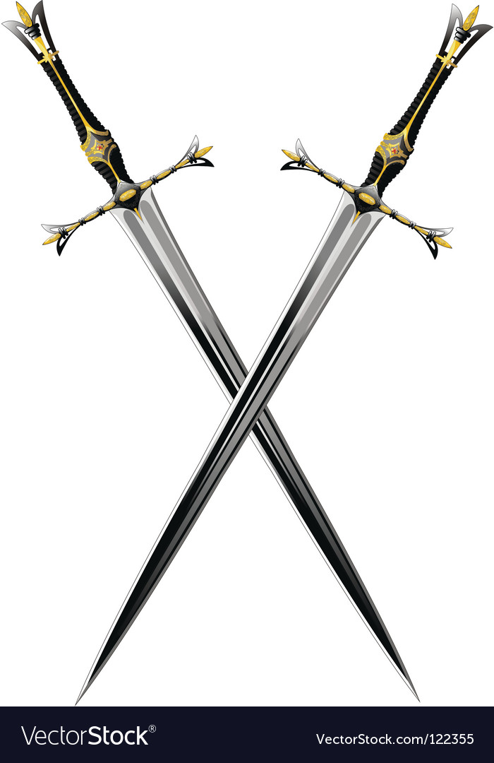 Two crossbones sword vector image