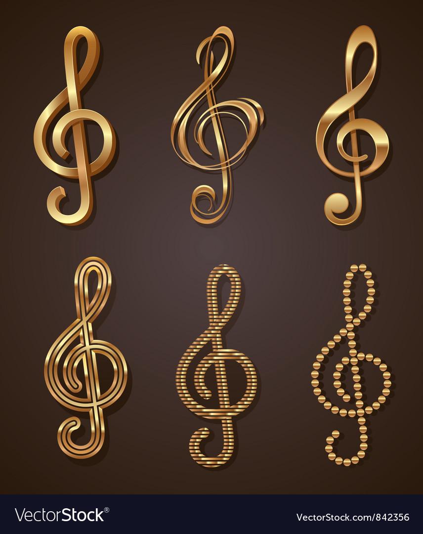 Set of golden decorative treble clef vector image