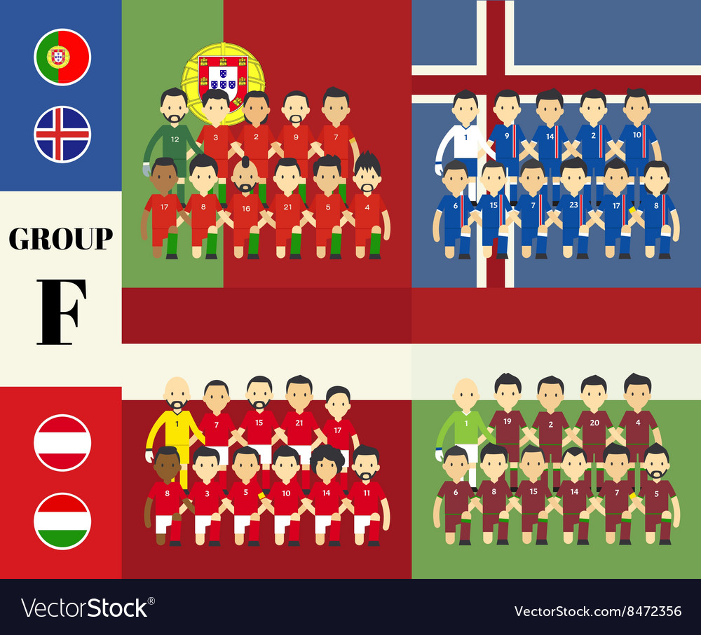 Players team with flags set vector image