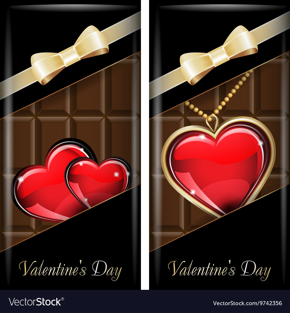 St Valentines Day Set of white ornate label with vector image