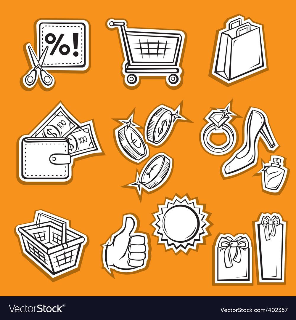 Shopping set v vector image