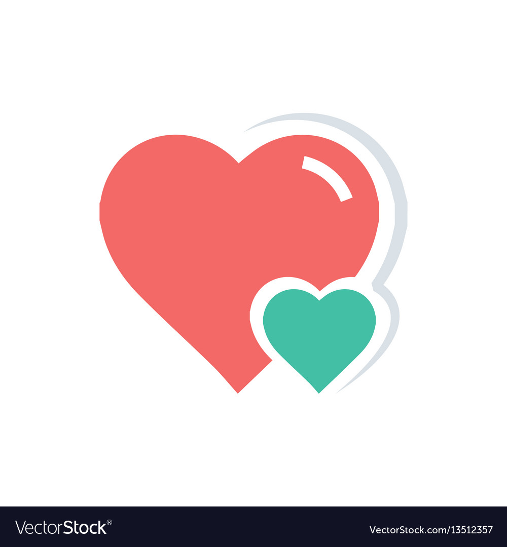 Heart Amp Mini Icon Red And Green Color Vector Image