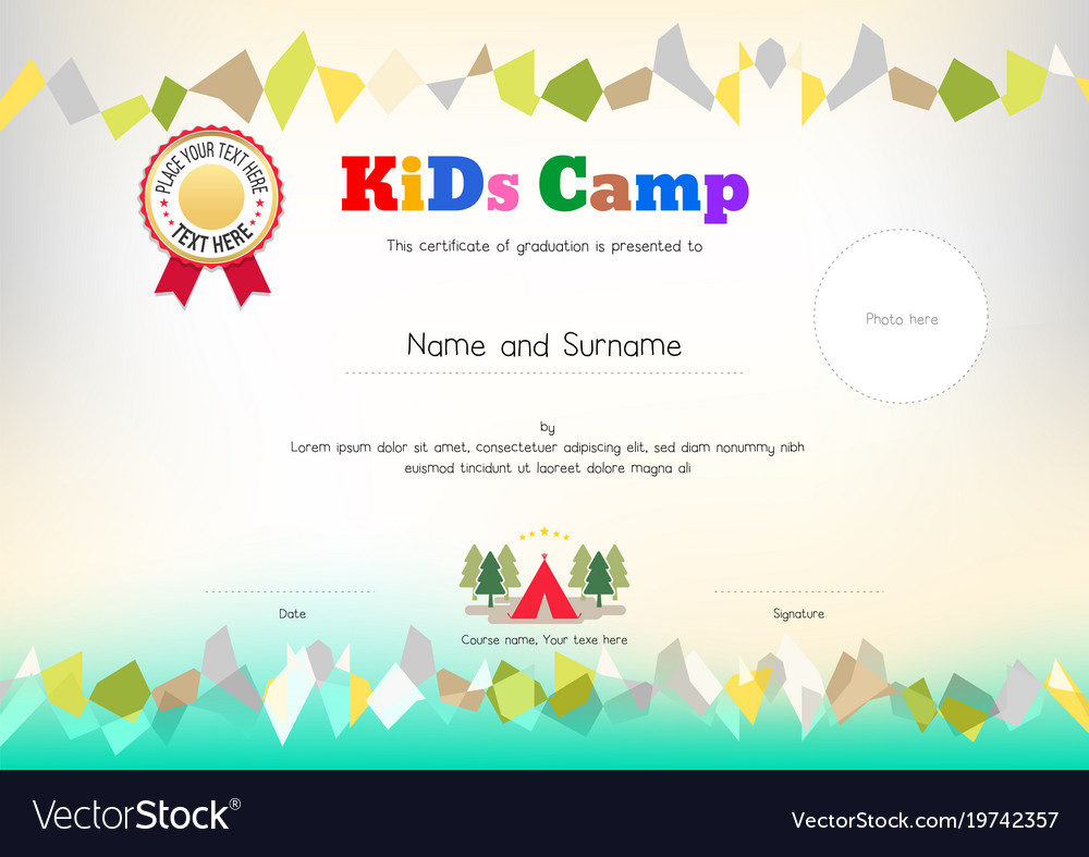 Kids summer camp diploma or certificate template vector image yelopaper Image collections