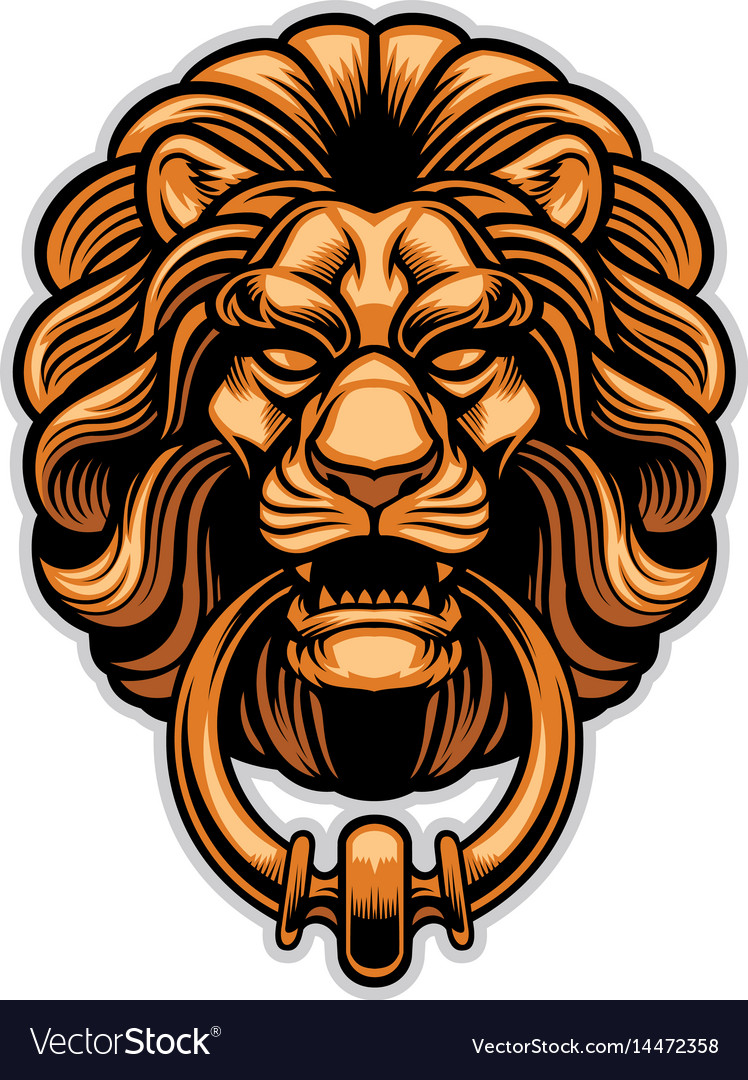 Decoration Of Lion Door Knocker Royalty Free Vector Image