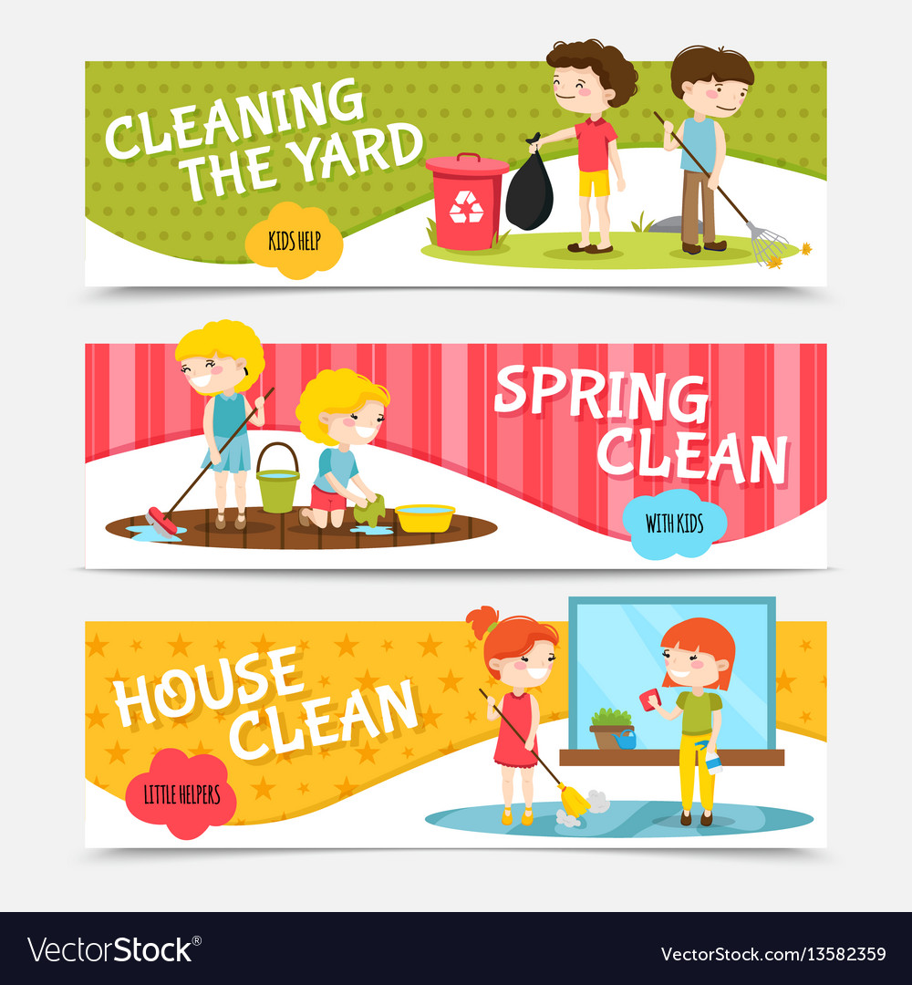 Kids cleaning horizontal banners vector image