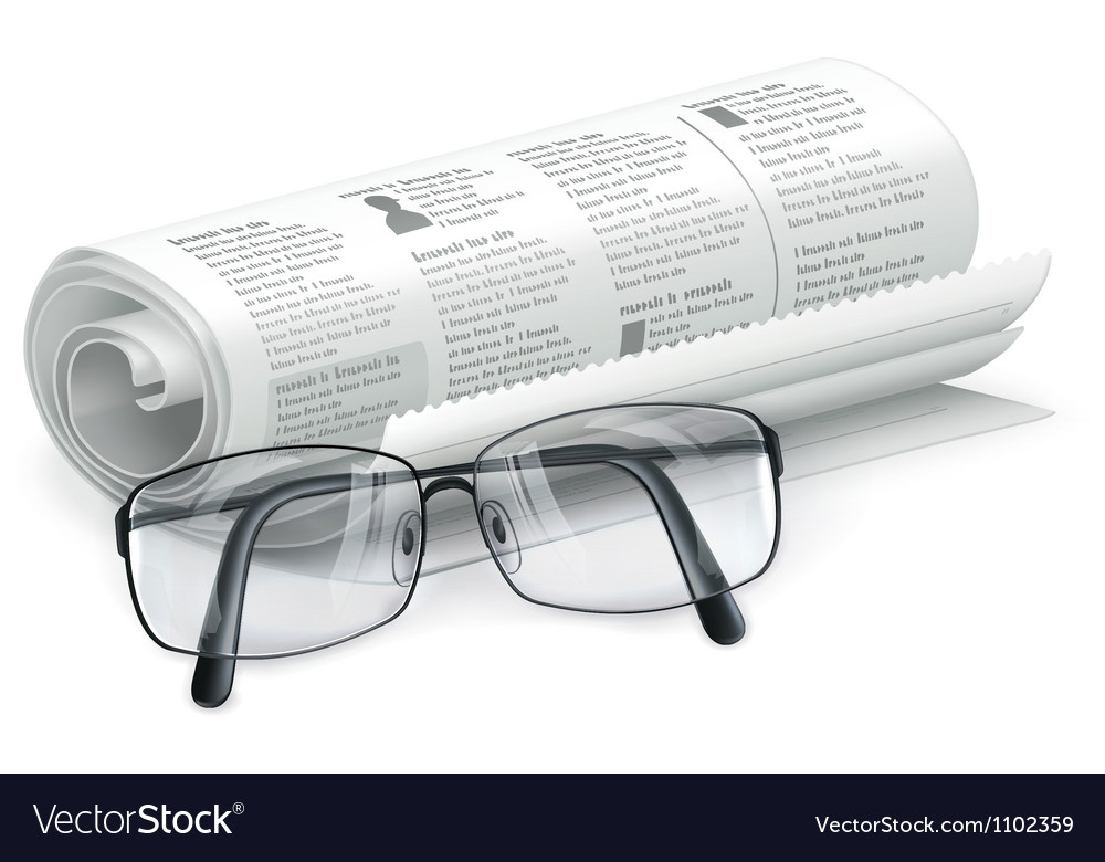 Newspaper and glasses vector image