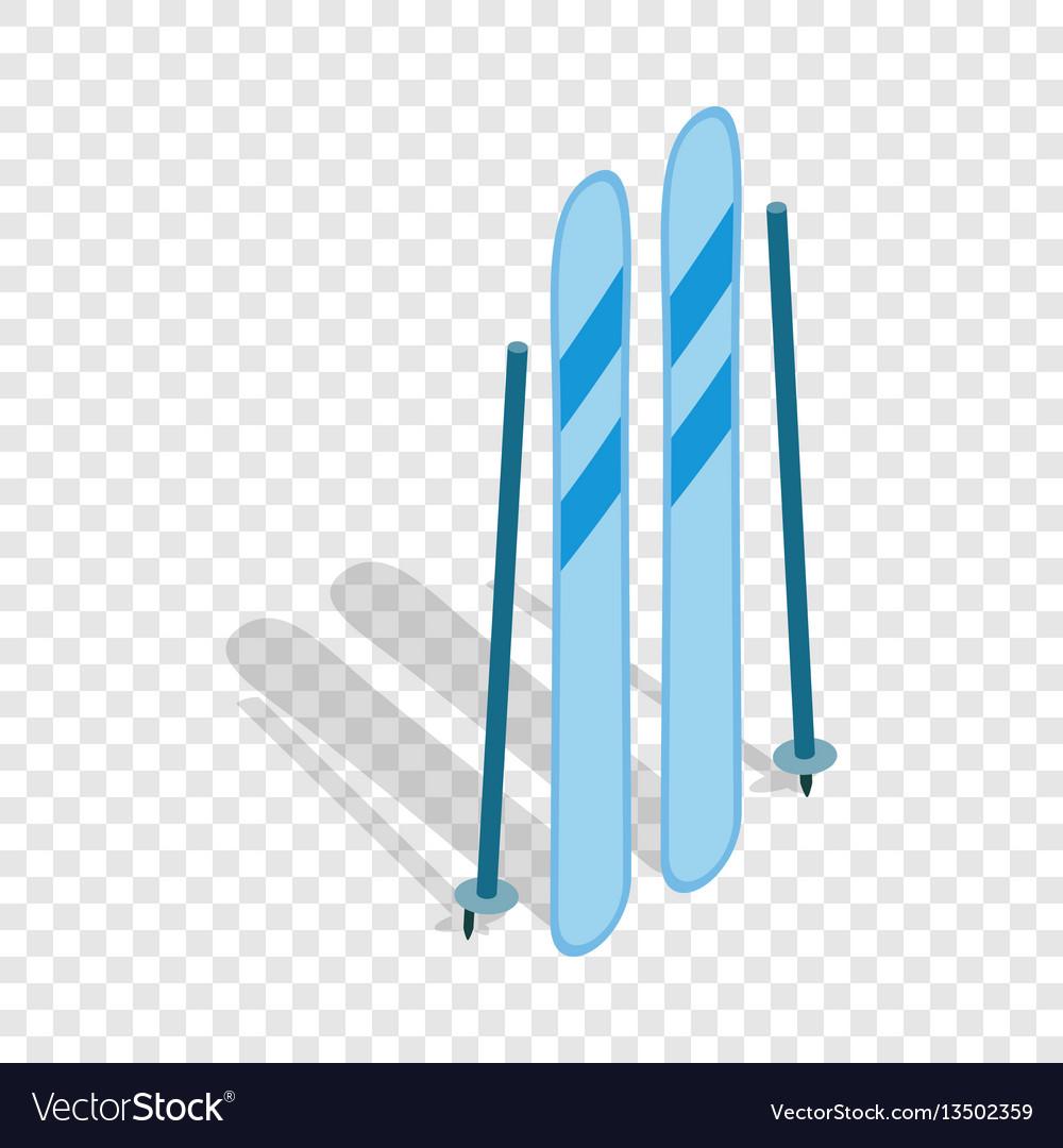 Ski equipment isometric icon vector image