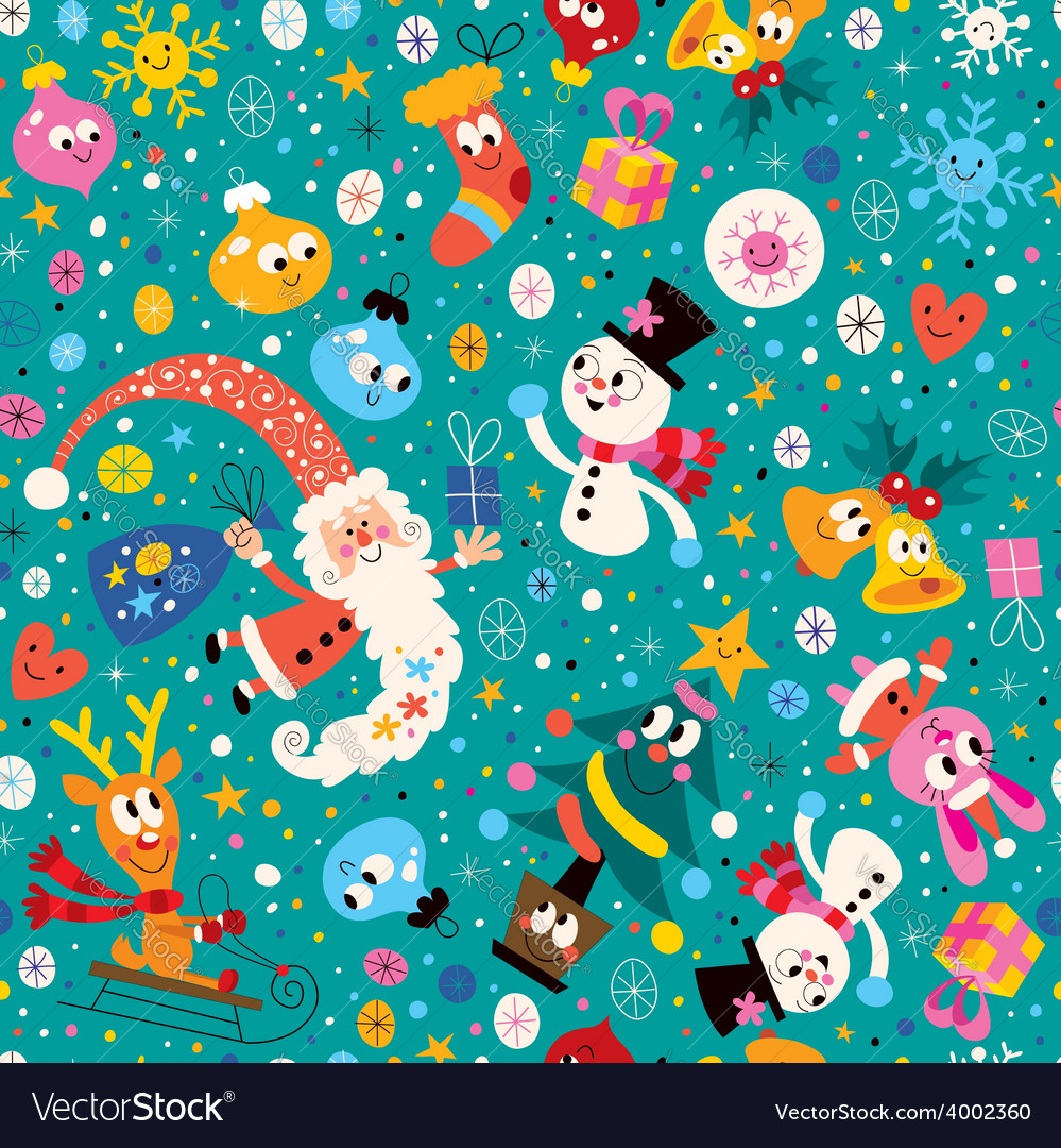 Merry Christmas and Happy New Year pattern 2 vector image