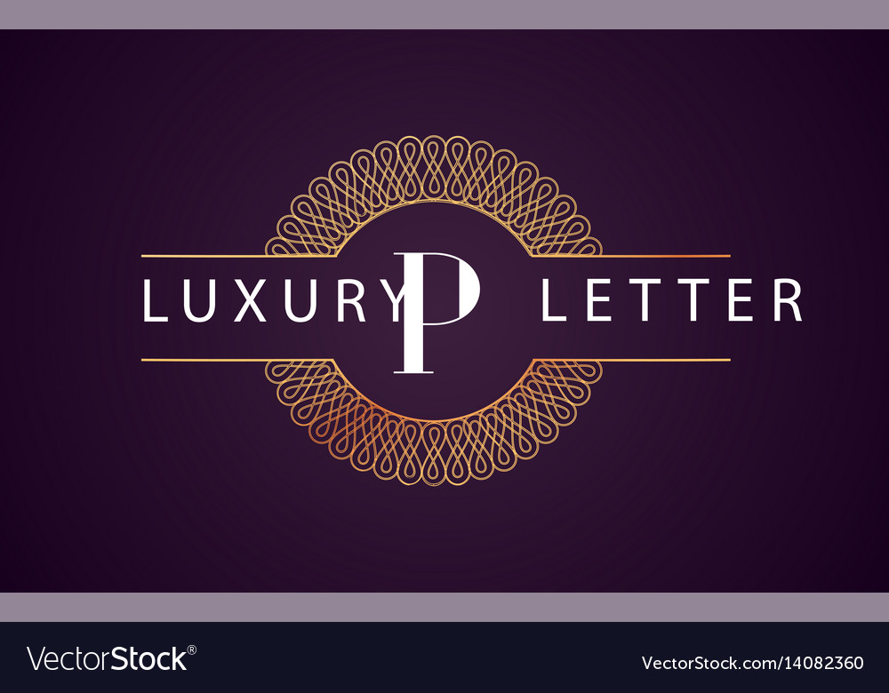 P luxury letter logo golden royal design vector image