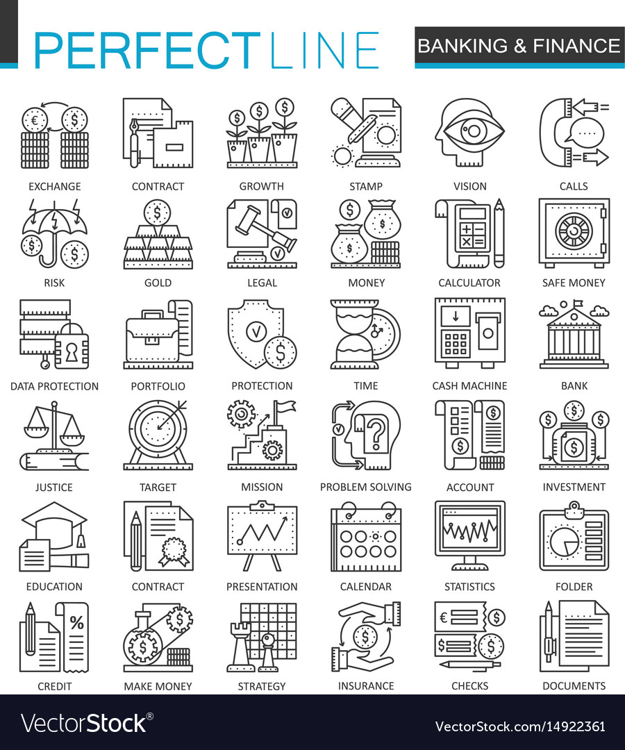 Banking finance thin line web icons set money and vector image