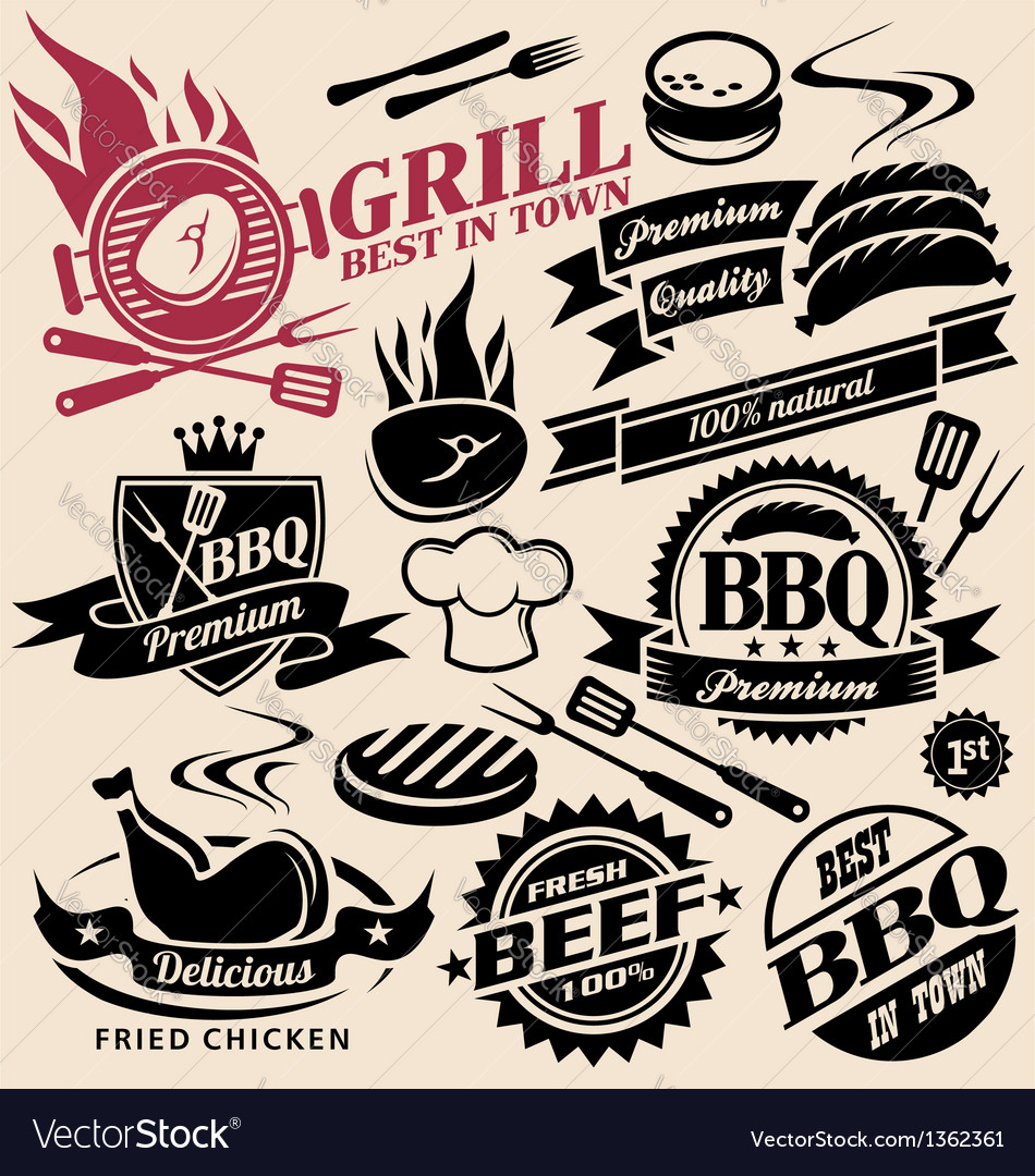 Collection of grill signs symbols labels vector image