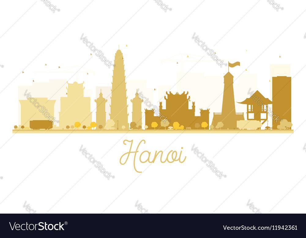 Hanoi City skyline golden silhouette vector image