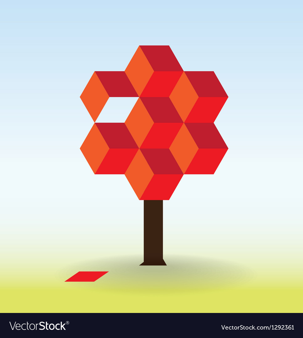 Tree form cubes vector image