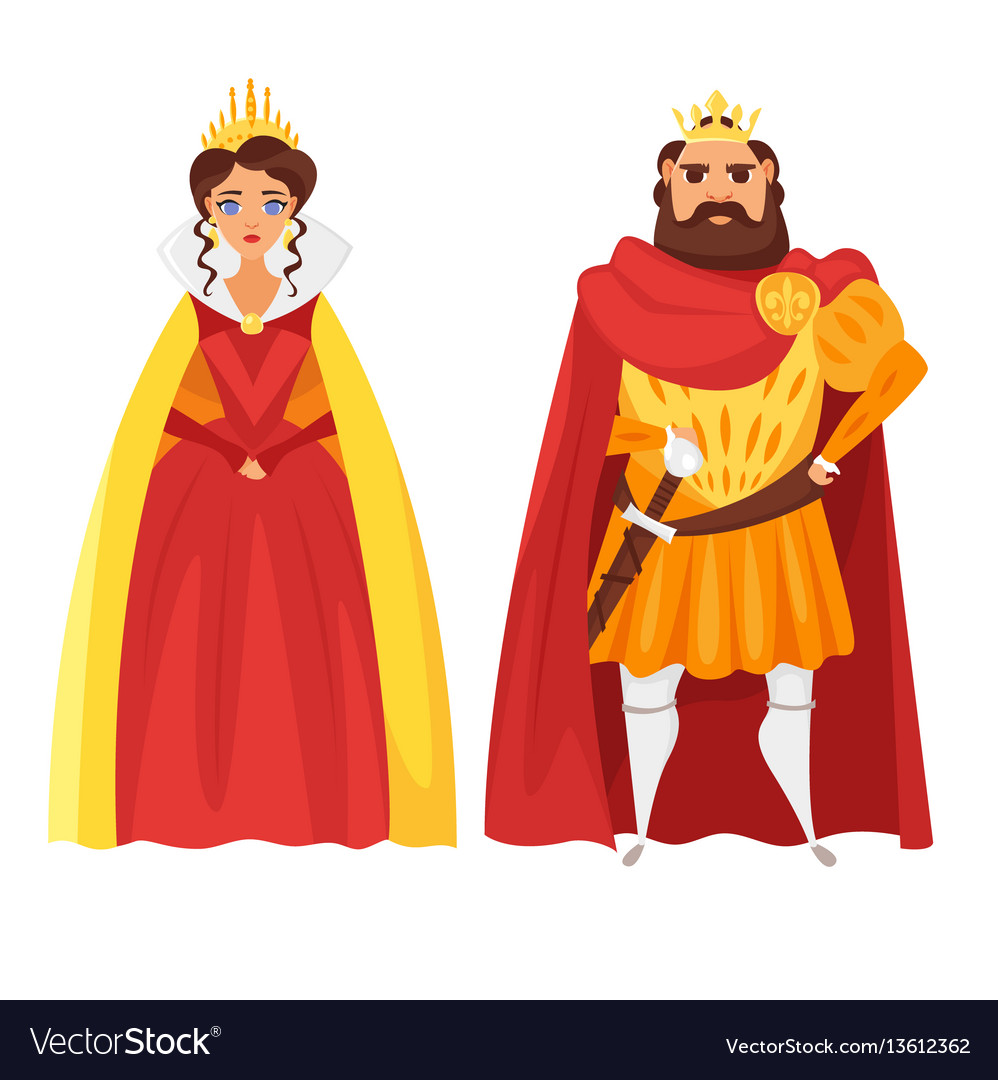 Cartoon style of king and queen vector image