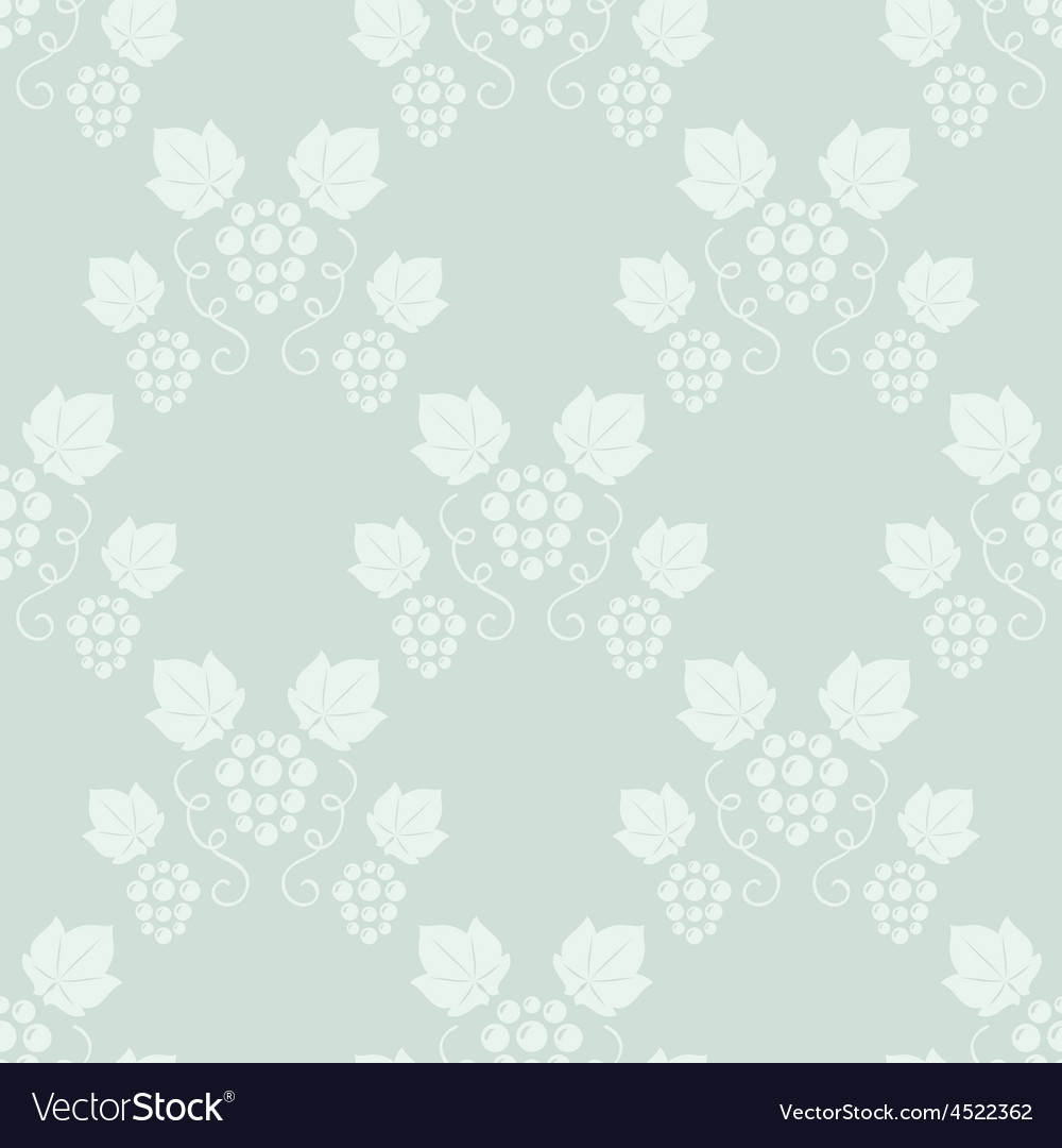 Seamless grape vines green background vector image