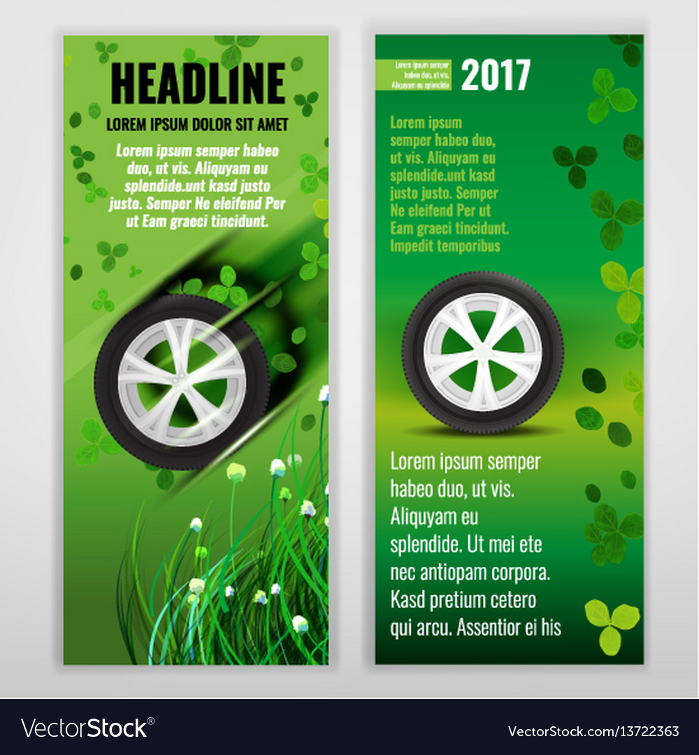 Ecological tire banners vector image