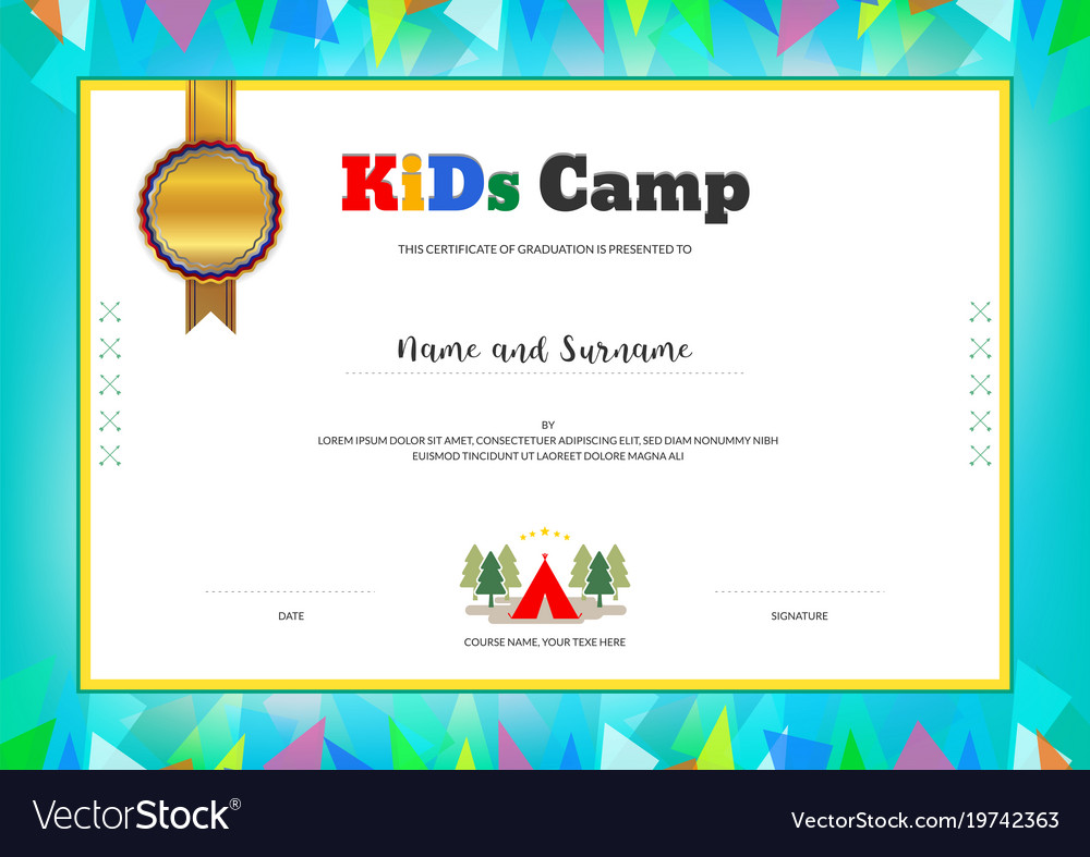Kids summer camp diploma or certificate template vector image yadclub Gallery