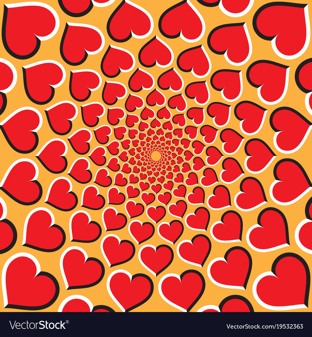 Optical background red hearts are moving vector image