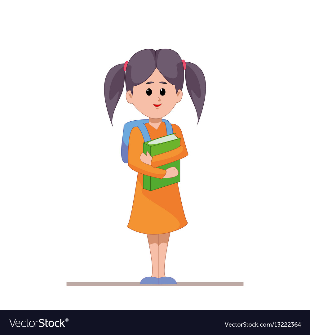 Schoolgirl with backpack and books in hands girl vector image