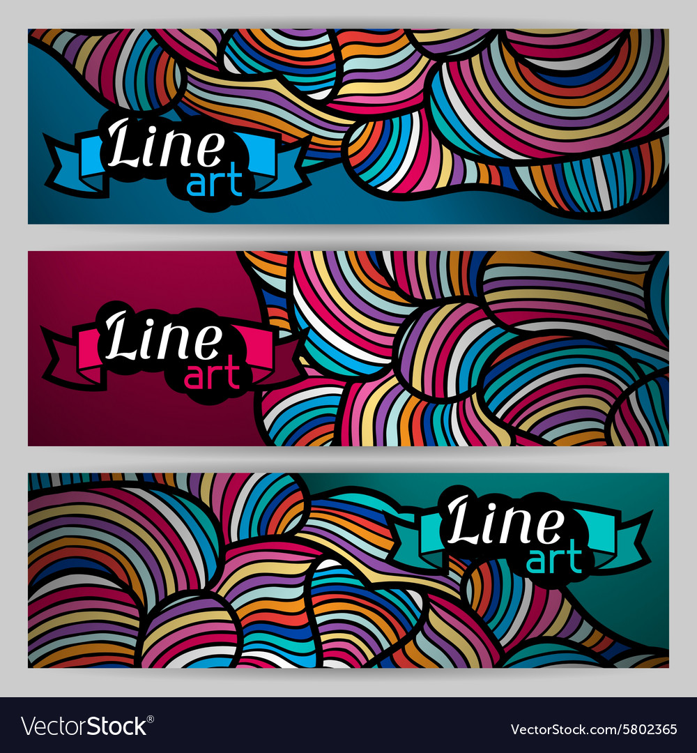 Banners with hand drawn waves line art vector image