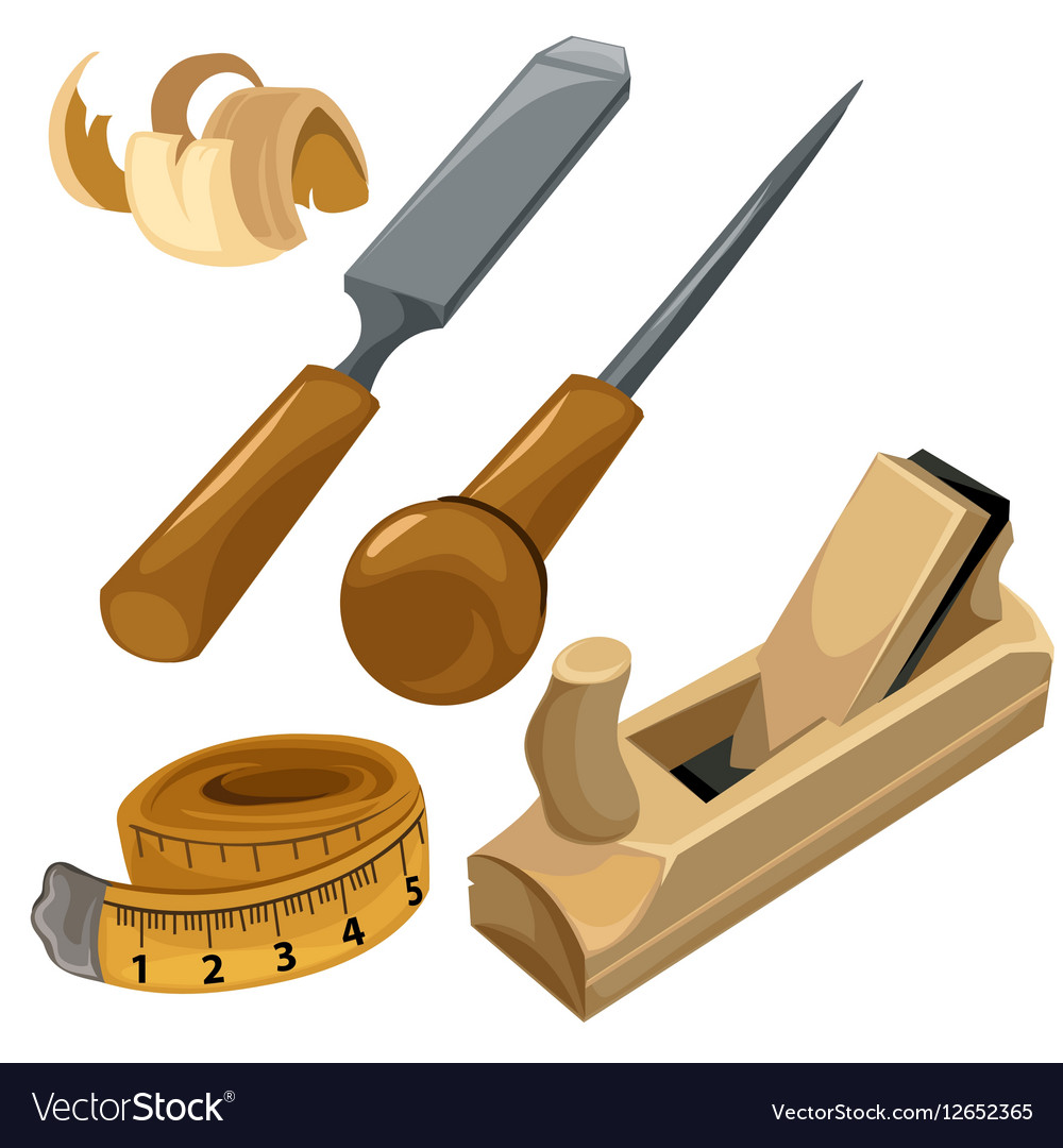 Working tools of a carpenter set isolated vector image