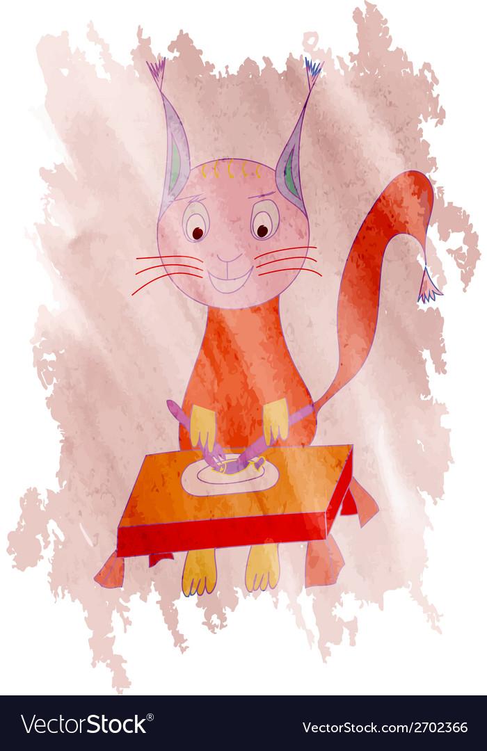 Cat eats a fish dor a lunch vector image