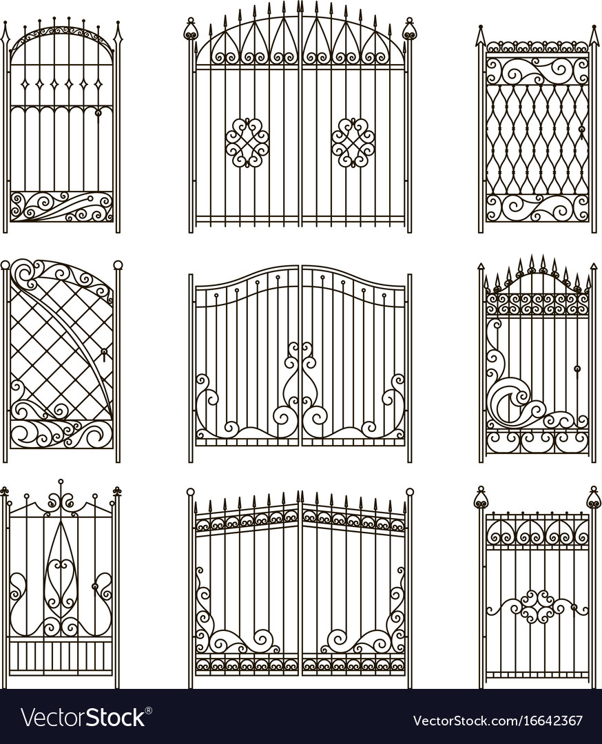 Pictures of iron doors or gates with swirls vector image