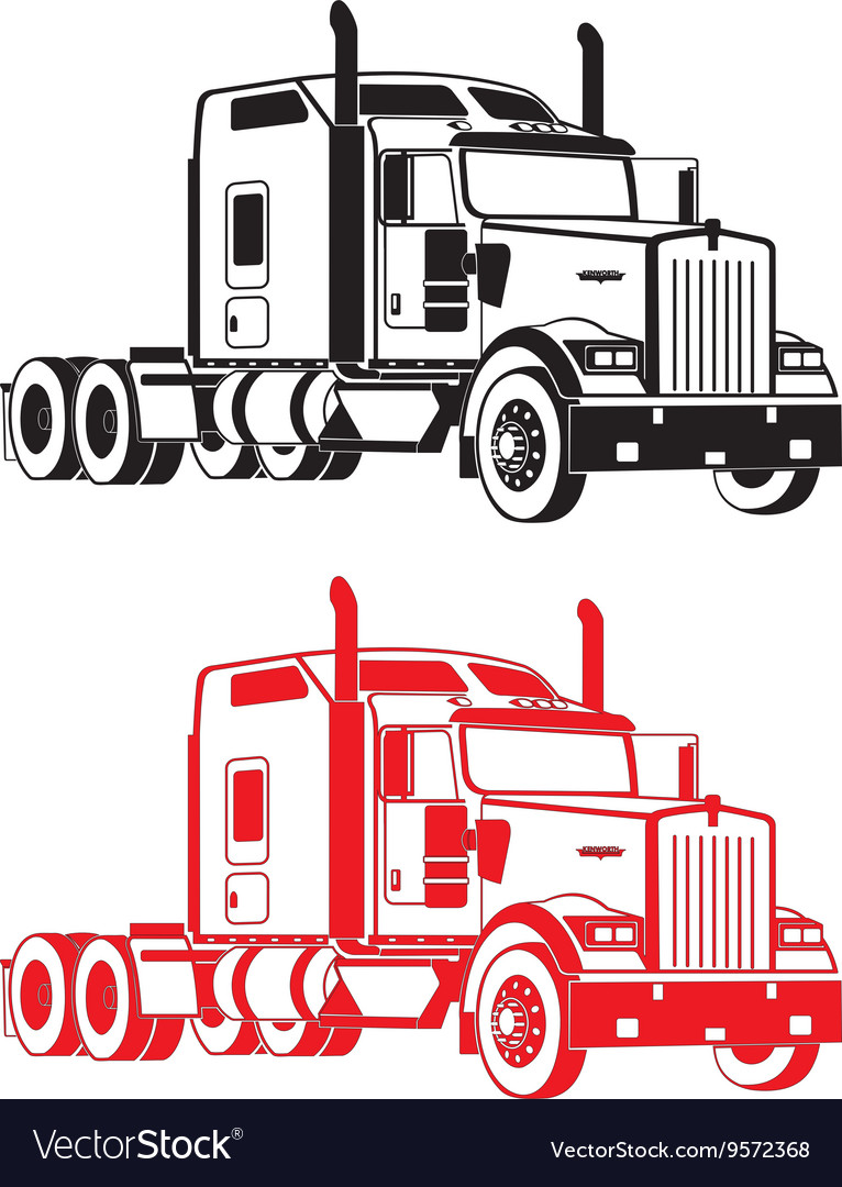 kenworth w900 semi truck royalty free vector image
