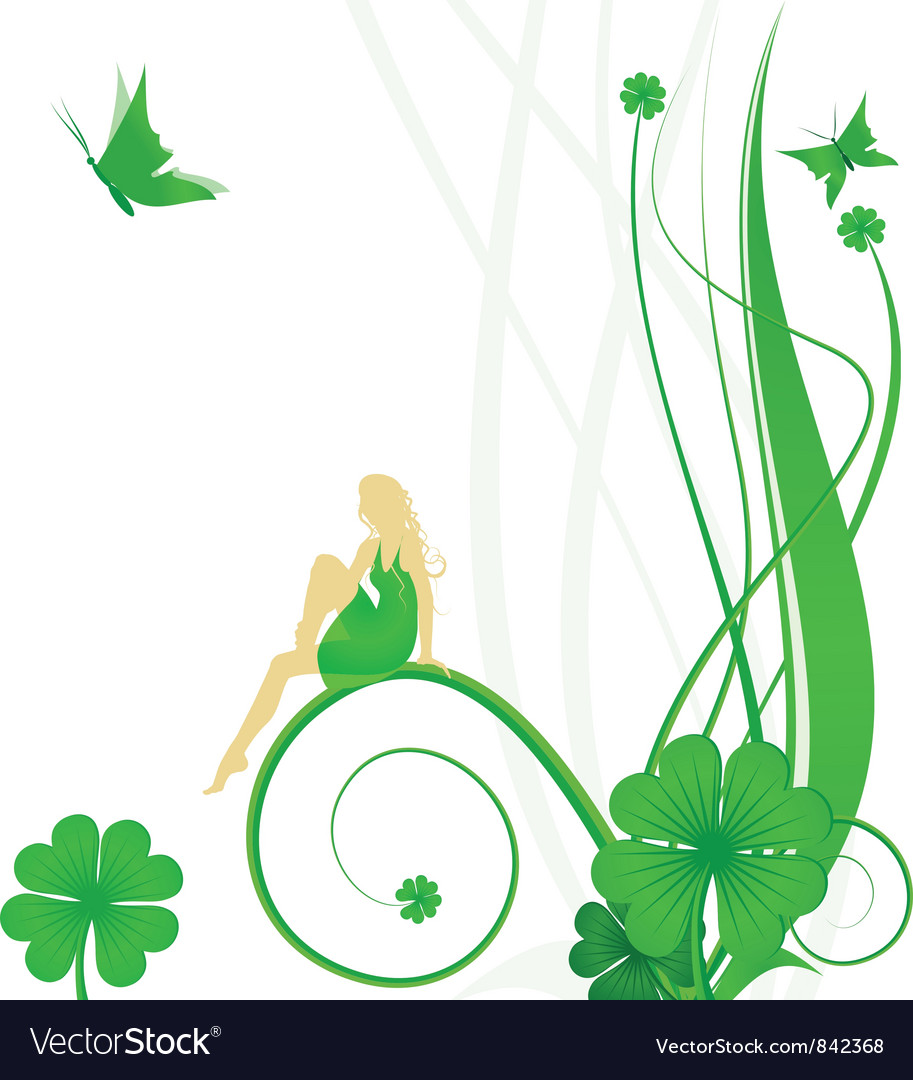 Fairy butterflies and clover vector image