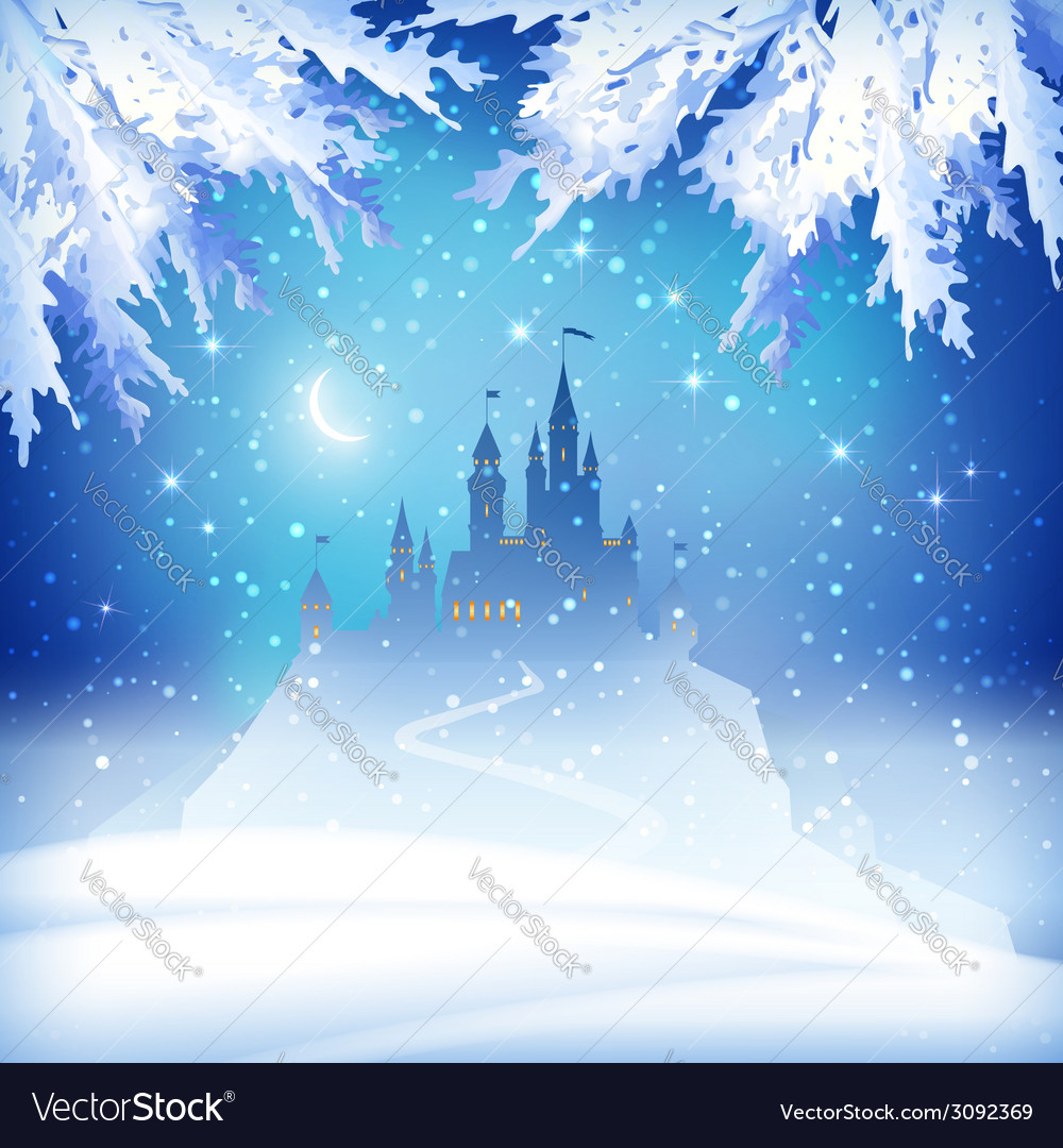 Christmas Winter Castle vector image