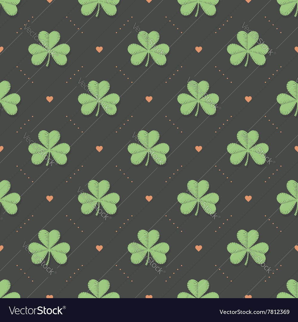 Seamless irish green pattern with clover and heart vector image