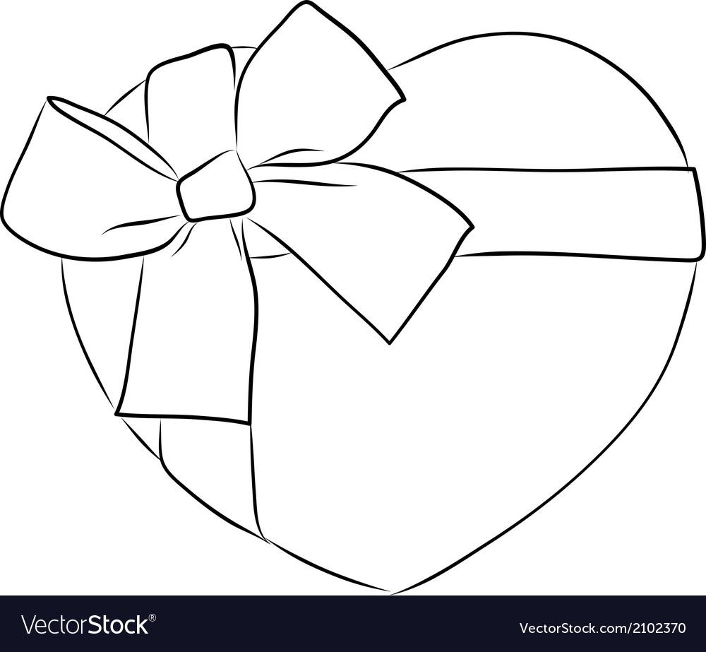 Drawing heart with big ribbon bow vector image