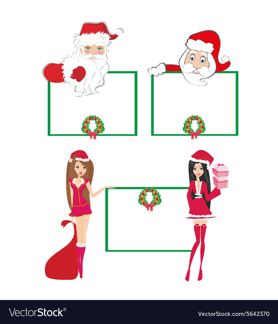 Santa Claus holding a Christmas frame - set vector image