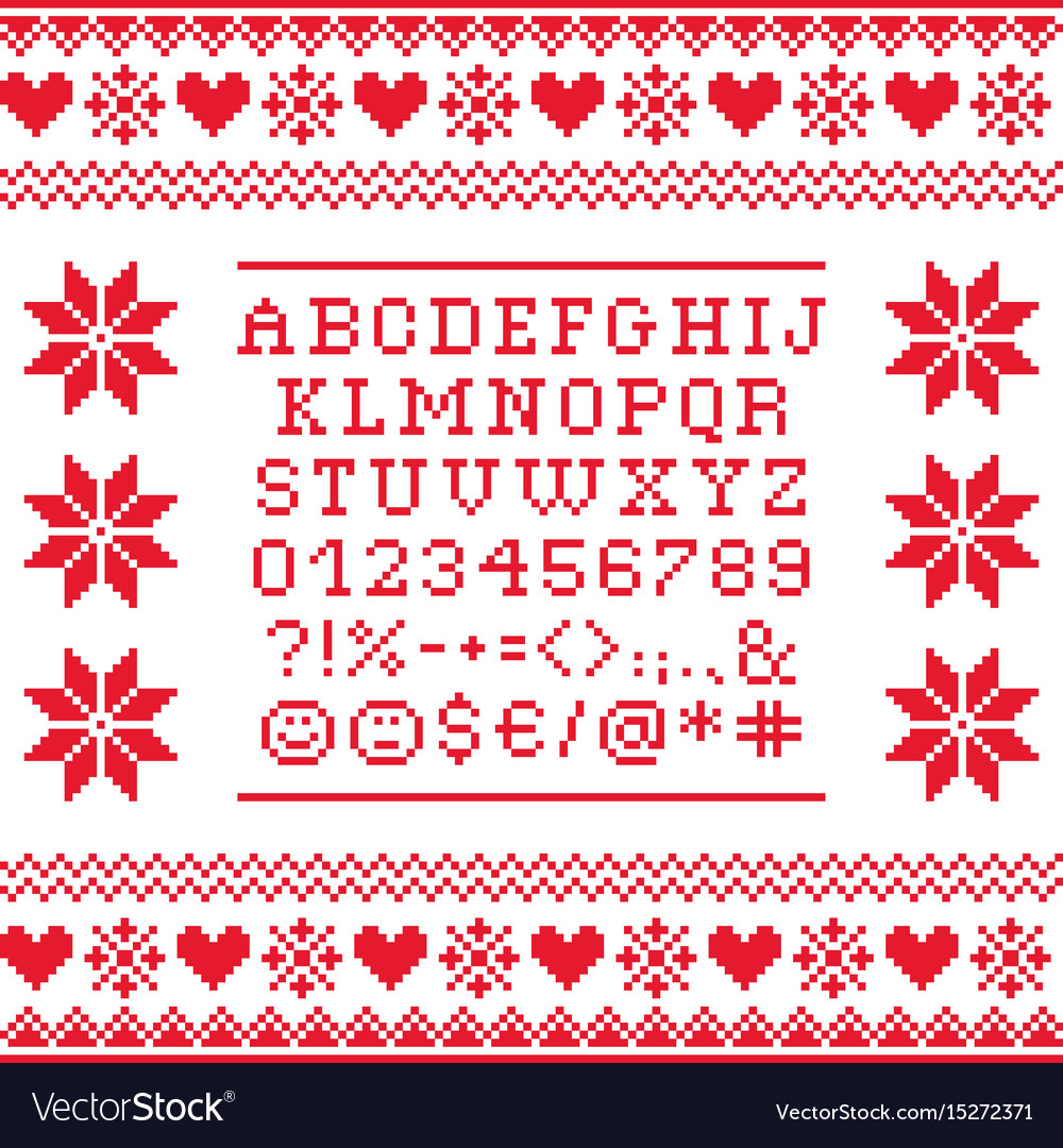 Cross stitch uppercase alphabet with numbers vector image
