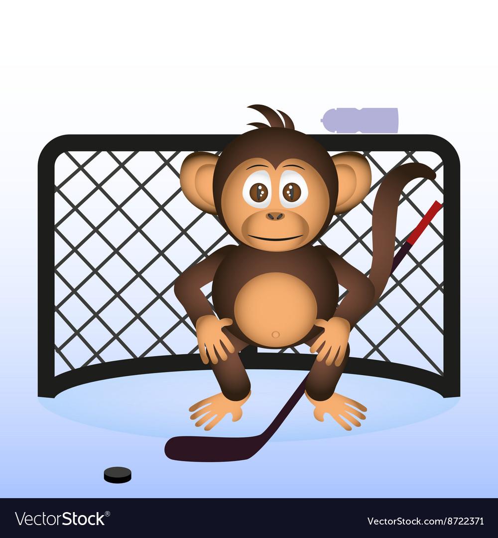 Cute chimpanzee playing ice hockey sport little vector image