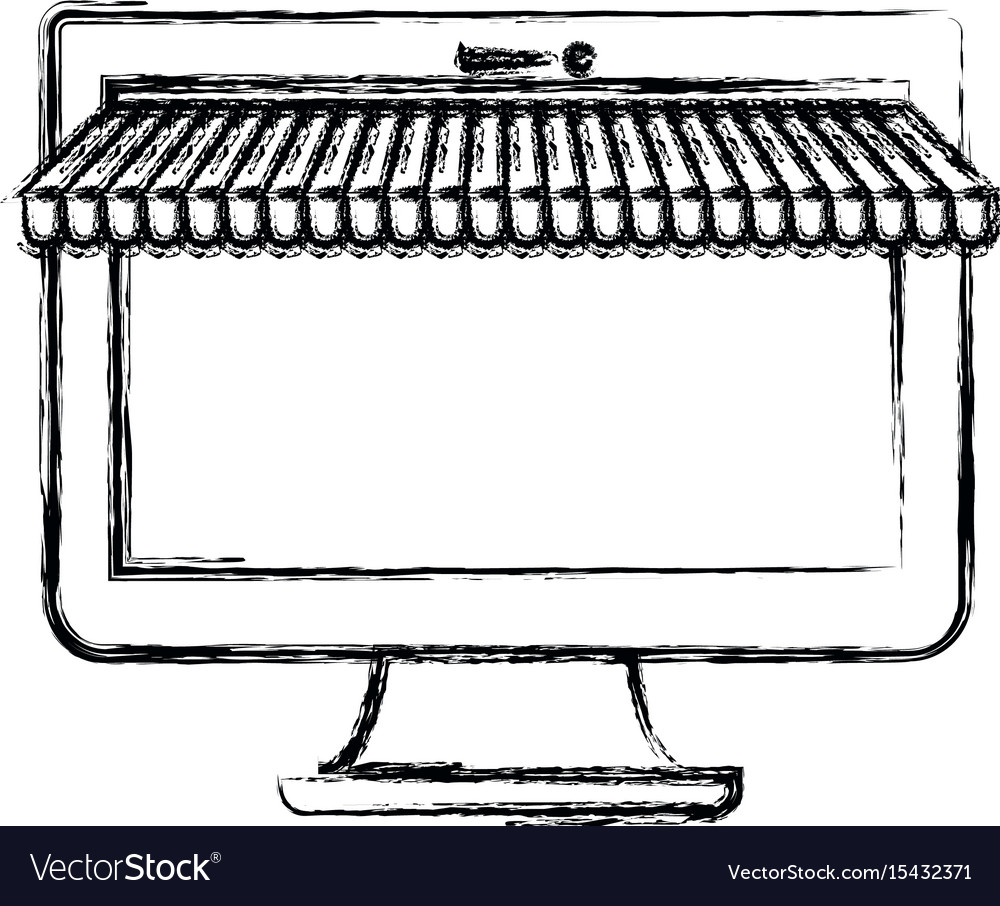Monochrome blurred silhouette of desktop computer vector image