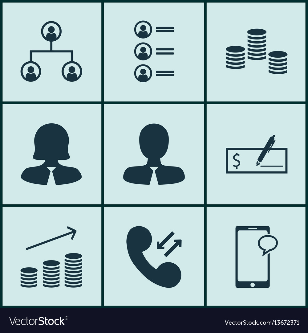 Set of 9 hr icons includes bank payment cellular vector image