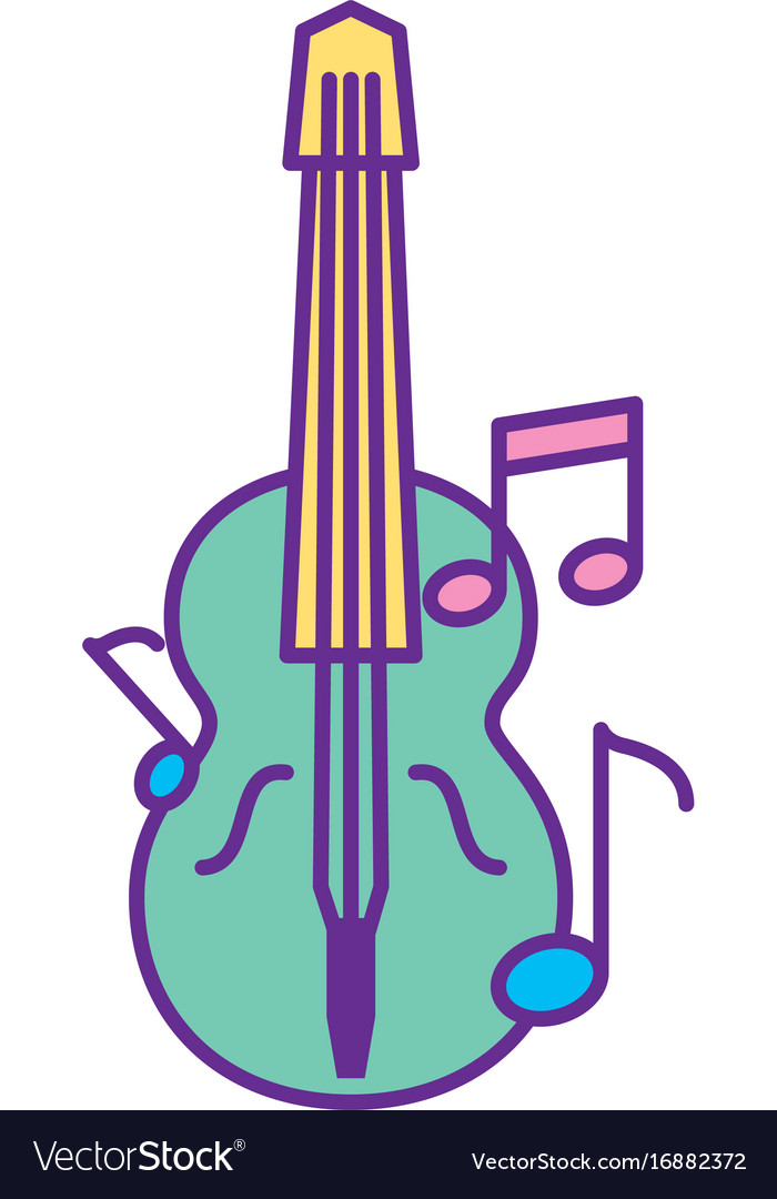 acoustic guitar with music notes royalty free vector image rh vectorstock com Music Notes Music Note Icon