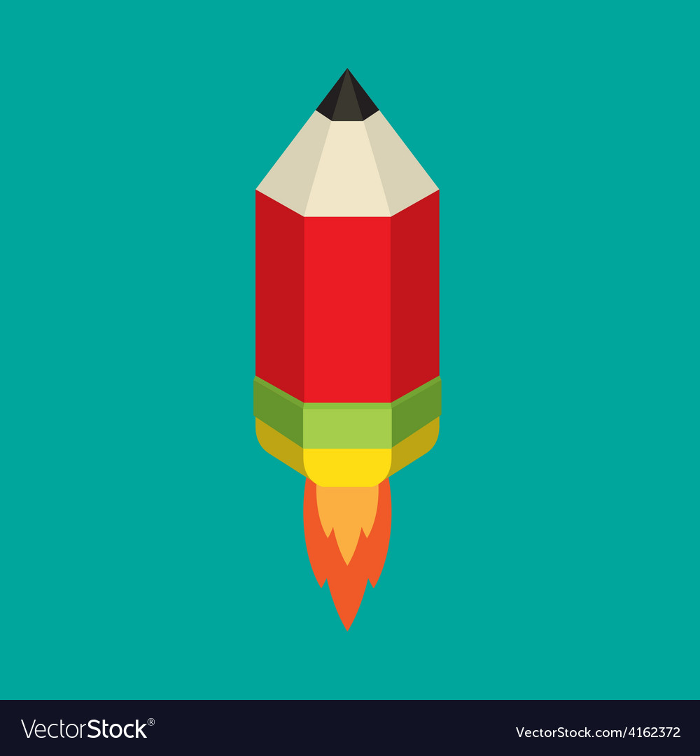 Flying pencil with rocket fire vector image