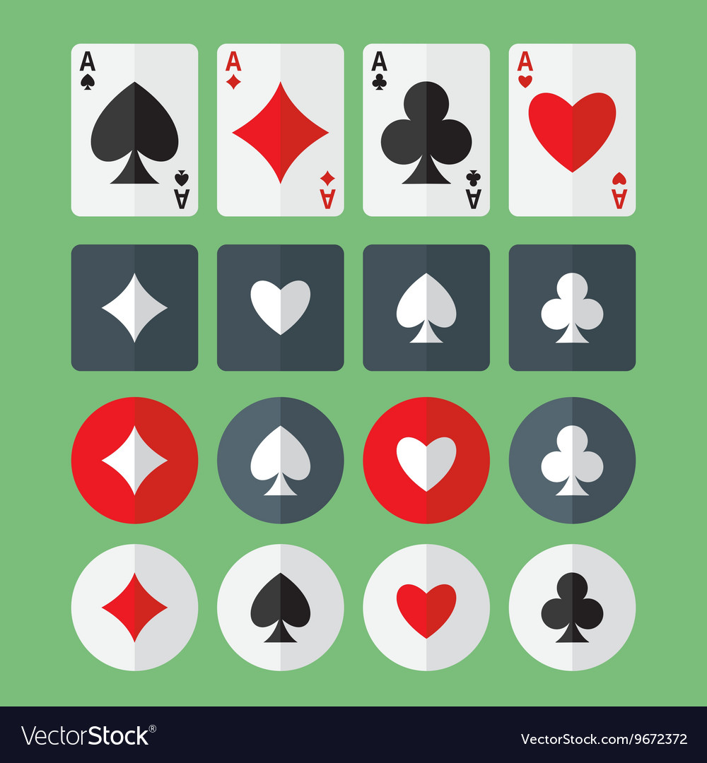 Four aces playing cards and suits flat icons vector image