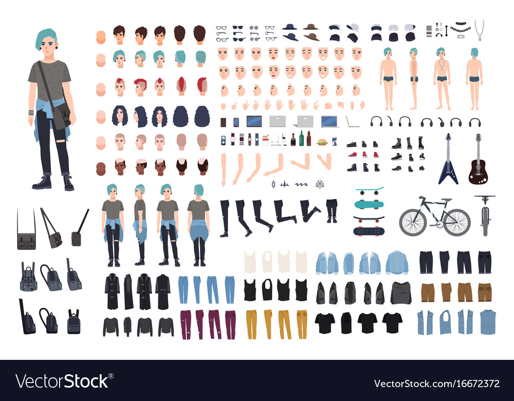 Informal teenager character constructor punk vector image