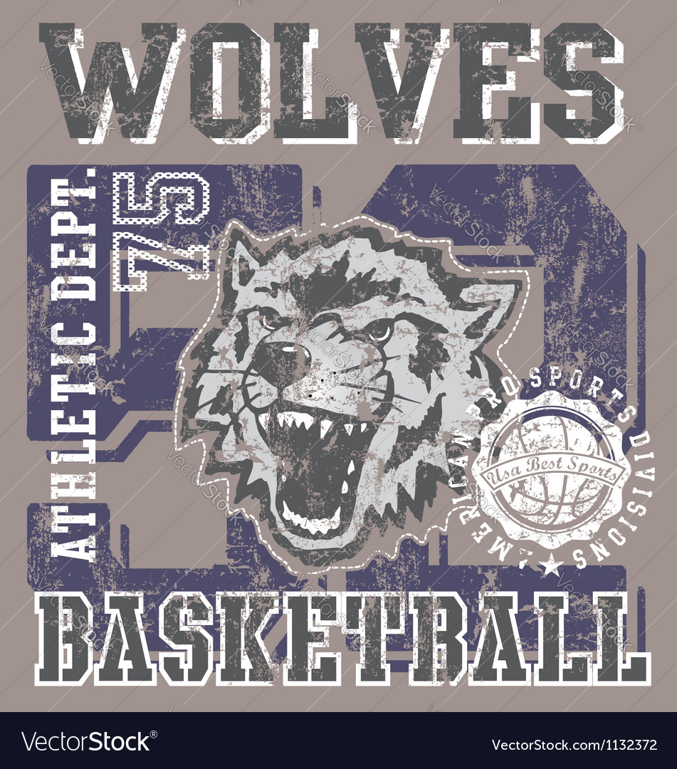 Wolves basketball team vector image