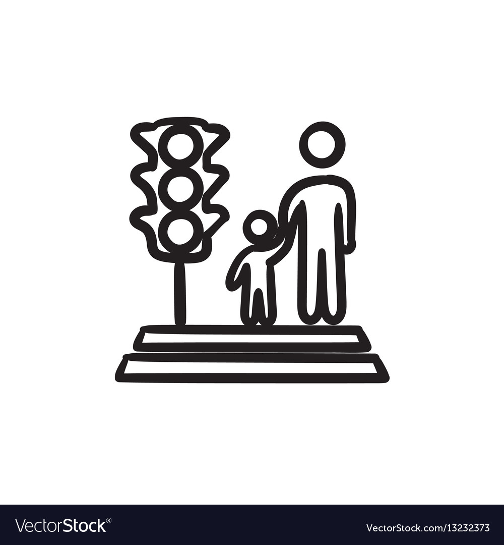 Parent and child crossing the street sketch icon vector image