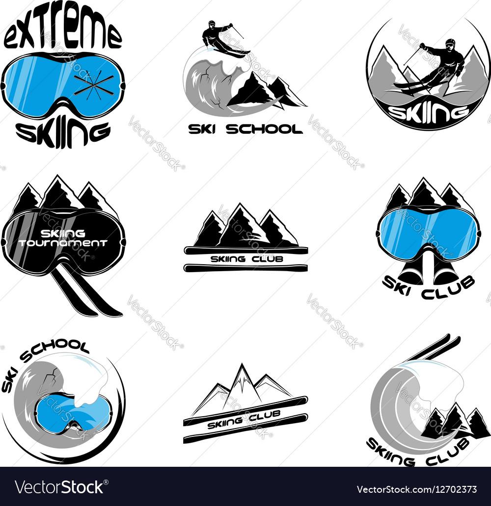 Set Ski logo design template elements vector image