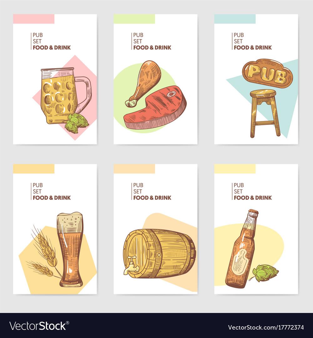 Beer pub brochure template hand drawn menu vector image