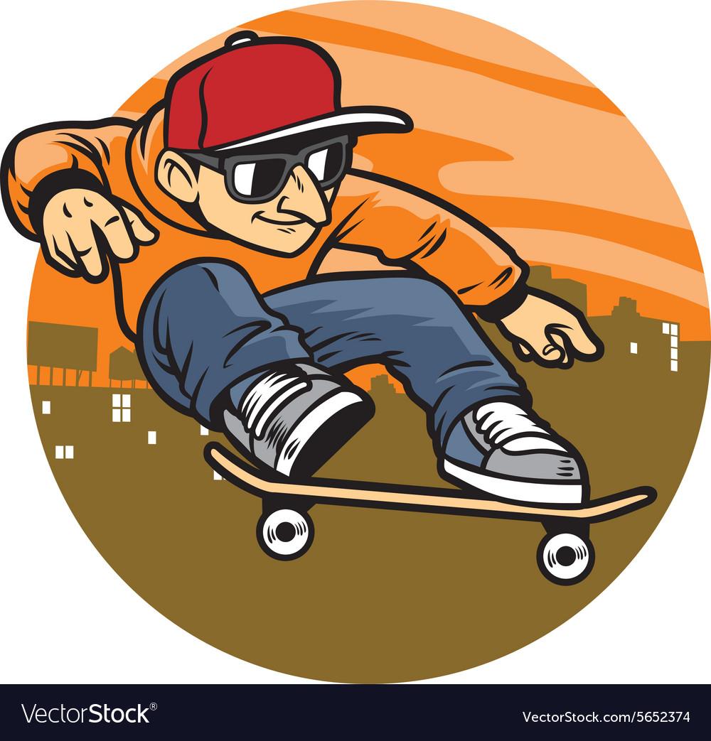 Cartoon man doing skateboard jump trick vector image